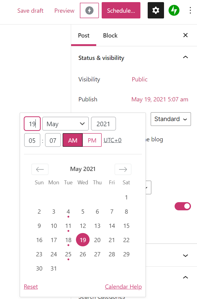The post scheduler will pop up showing a calendar view, and fields to type in or select the date.