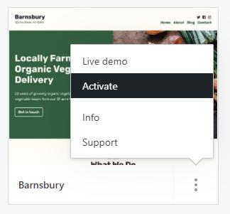 Um tema chamado Barnsbury é mostrado, com o menu do botão de três pontos aberto e a opção Ativar destacada.