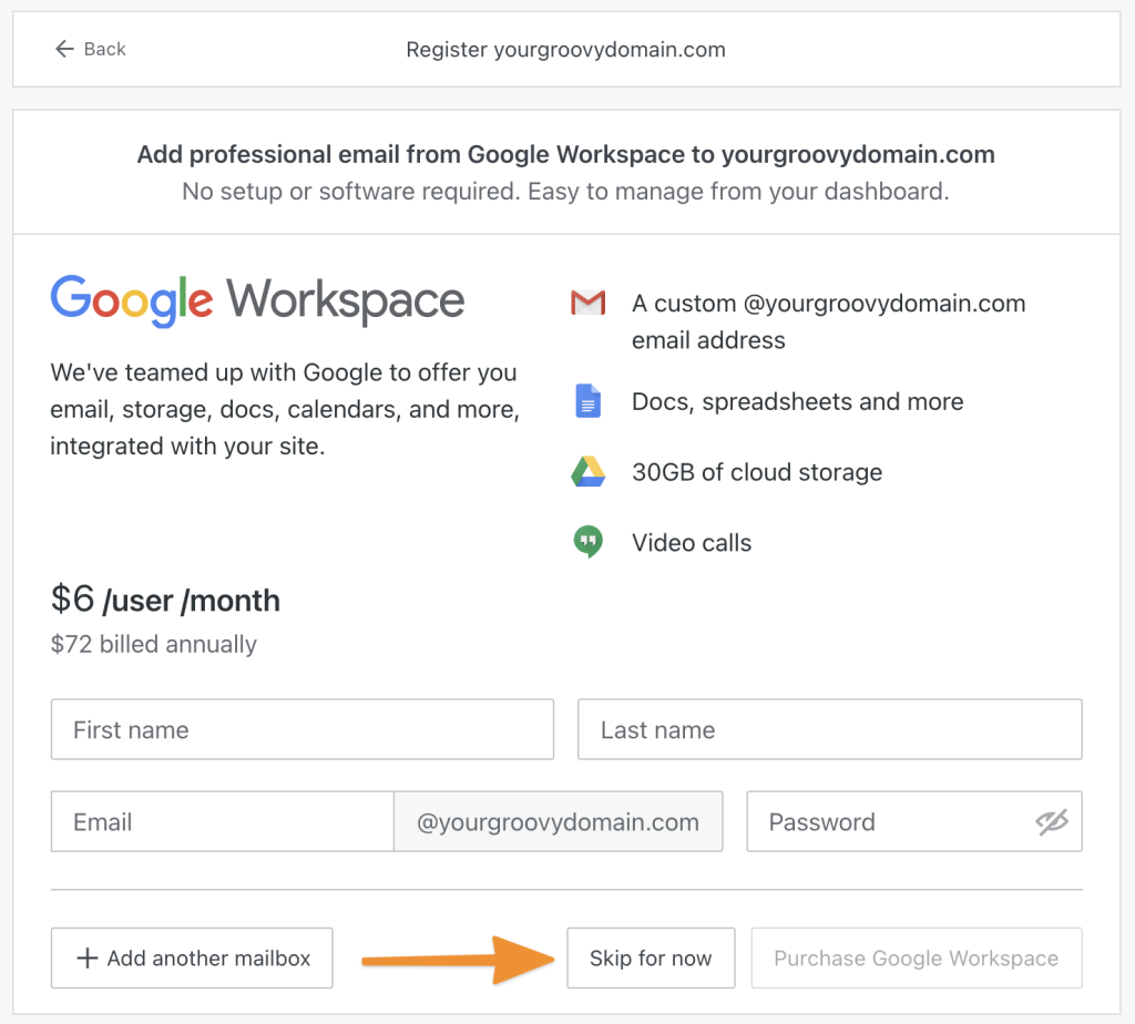 Add Google Workspace email screen while registering a new domain.