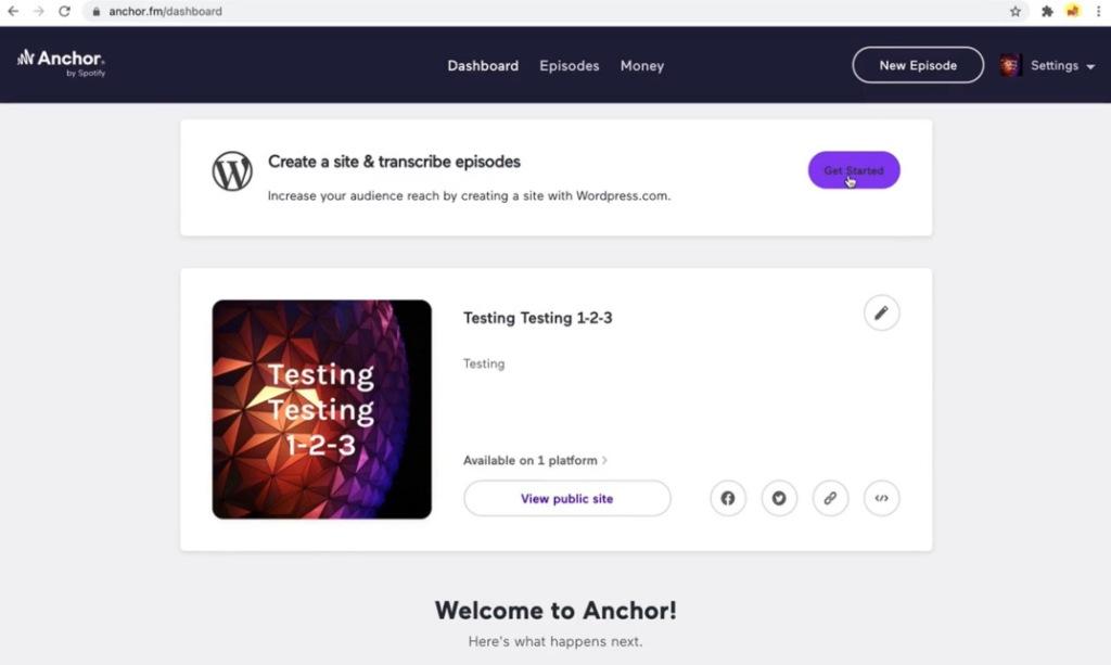 O painel do Anchor mostrará o botão Get Started para criar um site a partir de seus podcasts.