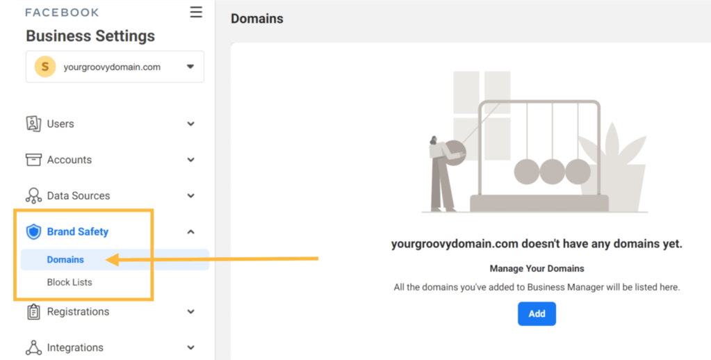 The Domains option is marked with an orange arrow.