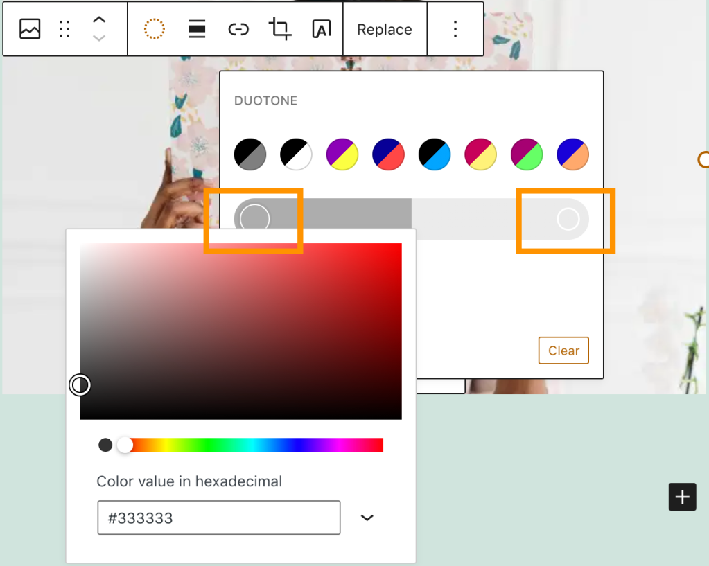 A screenshot highlighting where to click on the Duotone filter setting to set a custom color, on the color bar.