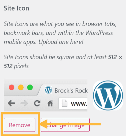 The button to remove a site icon is marked with an orange arrow.