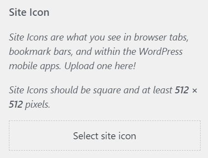 Uploading a site icon.