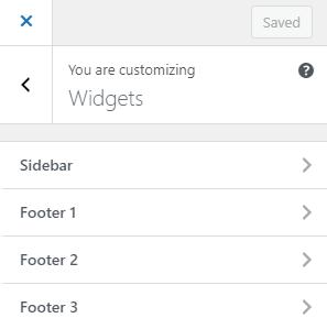 Uma lista das áreas de widget, mostrando a barra lateral, rodapé 1, rodapé 2 e rodapé 3.