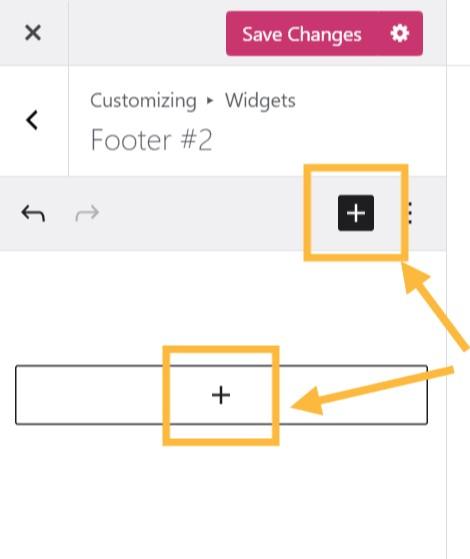 Dois botões + para adicionar widgets estão destacados com setas laranja.