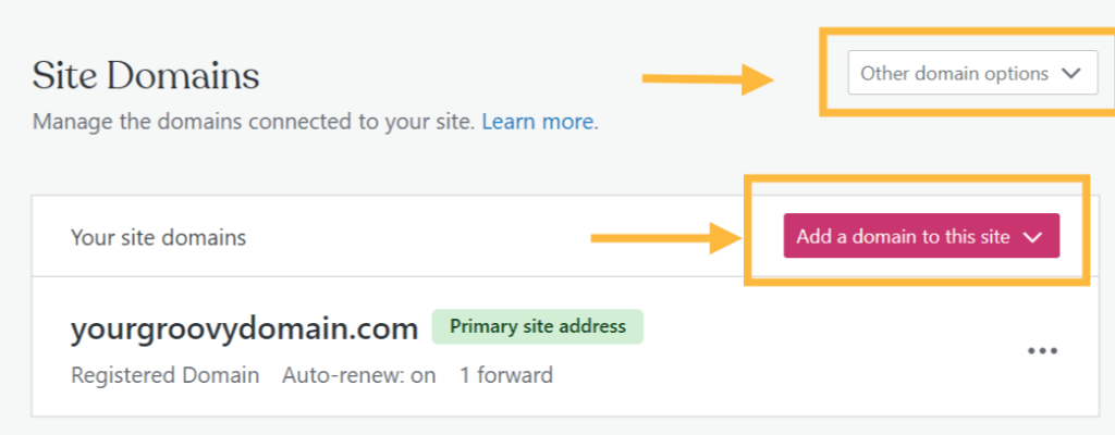 """""""Add a domain"""" options on the Site Domains screen."""