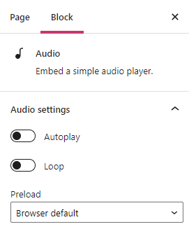 The audio block settings show Autoplay, loop,and Preload.