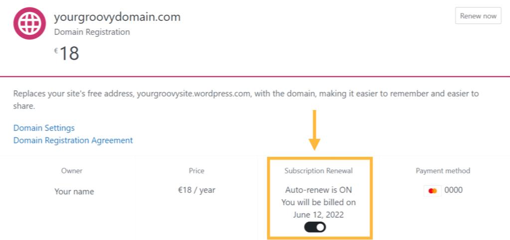 Detalhes do domínio na seção Gerenciar compras, mostrando a renovação automática ativada.