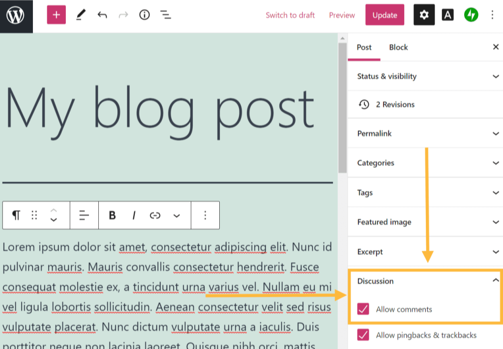 A blog post is shown, with the Discussion settings highlighted in orange
