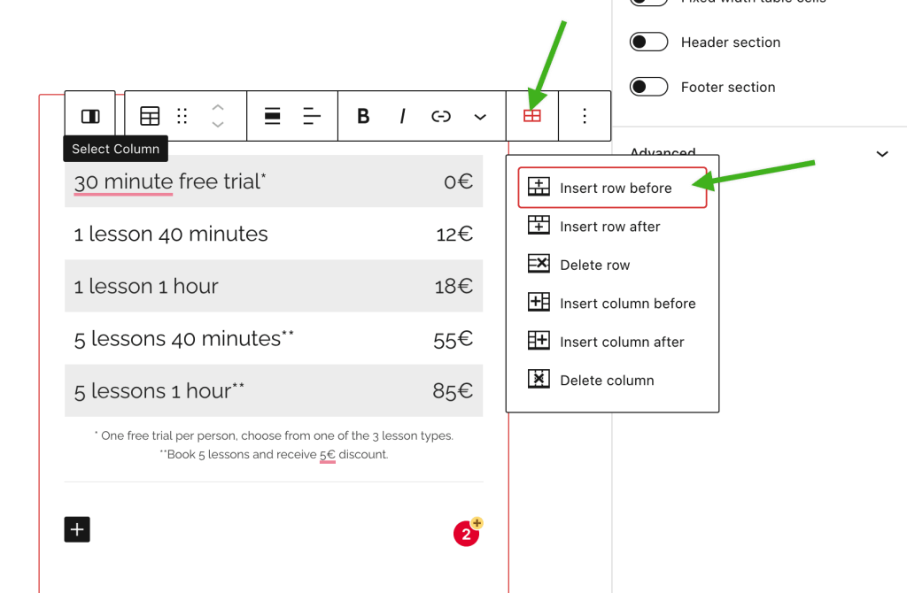 Edit rows and columns using the Edit Table toolbar option, with options to add or remove rows and columns.