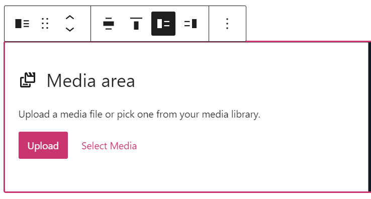Upon adding the block, two options are shown: Upload and Select Media.