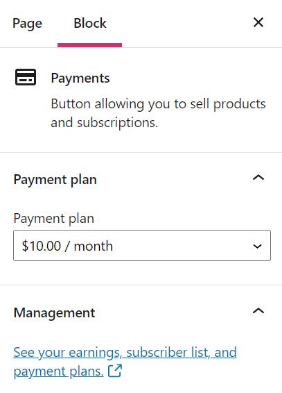 Opções da barra lateral do bloco de pagamentos