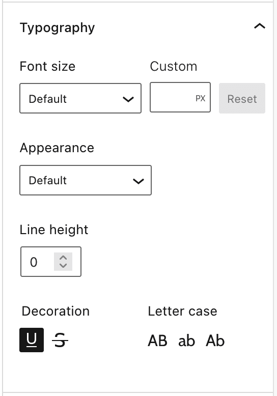 Typography Settings include Font size, Appearance, Line height, Decoration and Letter case.