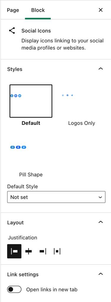 As configurações do bloco de ícones sociais ao lado do editor exibindo as opções Estilos, Layout e Configurações de link.